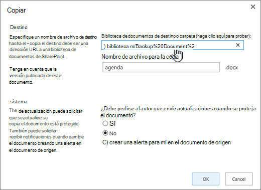 Cuadro de diálogo Copiar con la dirección URL seleccionada.