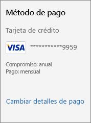 """Captura de pantalla que muestra el vínculo """"Cambiar detalles de pago""""."""