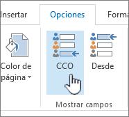 Buscar el botón CCO en la pestaña Opciones