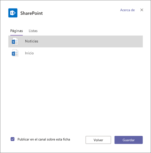 Páginas de ficha de SharePoint