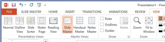 El botón patrón de diapositivas se encuentra en la pestaña Ver de la cinta de opciones.
