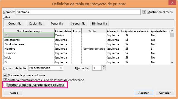 Cuadro de diálogo Definición de tabla