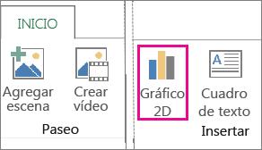 Botón Gráficos 2D de la pestaña Inicio de Power Map