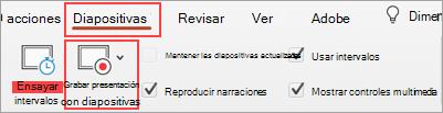 Captura de pantalla de la pestaña Presentación con diapositivas y el botón Grabar presentación con diapositivas