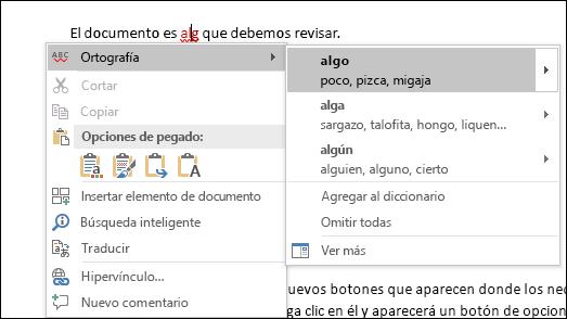El editor usa los servicios de inteligencia para recomendar ortografía y correcciones de contexto.