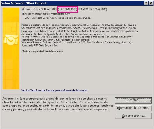 """Captura de pantalla que muestra dónde aparece el número de versión de Outlook2007 en el cuadro de diálogo """"Acerca de Microsoft Office Outlook""""."""