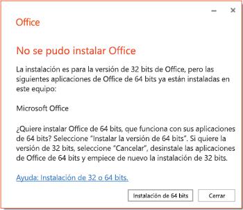 Mensaje de error de instalación si hay un problema de compatibilidad entre 32 bits y 64 bits