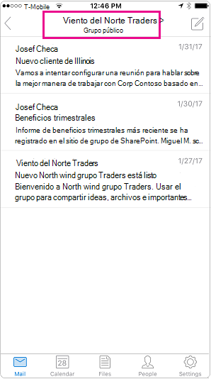 Vista de conversación móvil de Outlook con encabezado resaltado