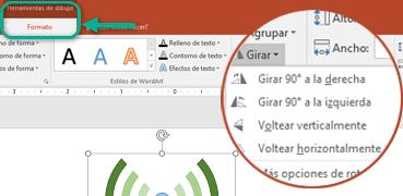 Los comandos de Giro están disponibles en la pestaña Formato de las Herramientas de dibujo de la cinta de opciones de la barra de herramientas. Seleccione el objeto que desea girar y, después, haga clic en la cinta de opciones.