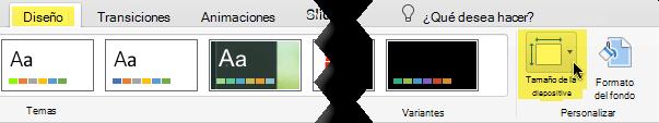 El botón de tamaño de diapositiva está en el extremo derecho de la ficha Diseño en la barra de herramientas
