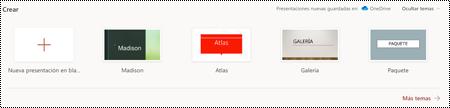 Selección de temas en la Página principal de PowerPoint online.