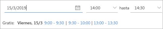 Una captura de pantalla de las horas en las que está disponible una invitación a la reunión