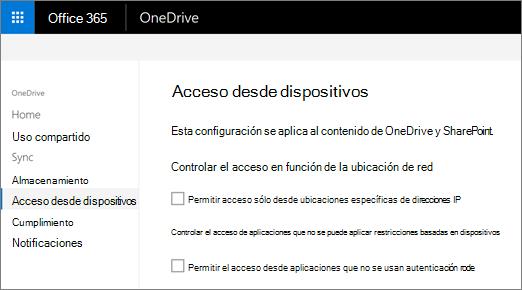 La ficha de acceso de dispositivo del centro de administración de OneDrive