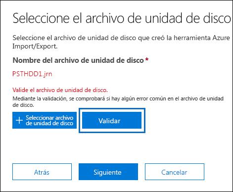 Haga clic en validar para validar el archivo de la unidad que ha seleccionado