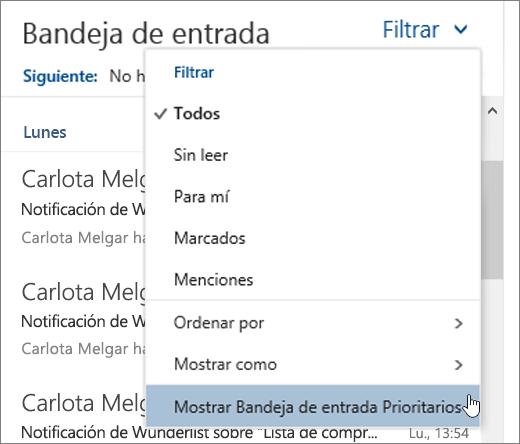 Una captura de pantalla del menú filtro con mostrar centrados en bandeja de entrada seleccionado
