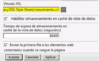 Vínculo del archivo XSL pegado en