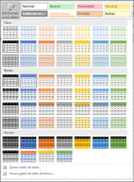 Galería de estilos de tablas de Excel