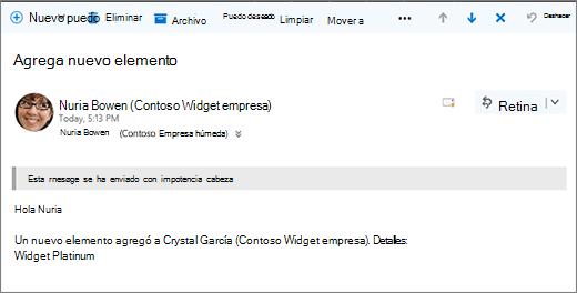 Correo electrónico enviado por Microsoft flujo al cambiar un elemento