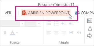 Abrir en la edición de escritorio de PowerPoint