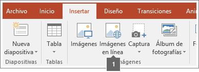 Captura de pantalla de cómo agregar imágenes en línea en aplicaciones de Office.