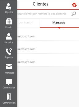 Menú móvil Administración del asociado de Office 365 móvil