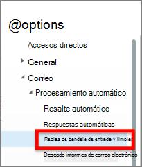 opción de reglas de la bandeja de entrada de o365