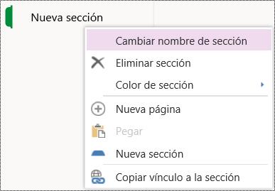 Opción Cambiar el nombre de una sección en OneNote Online.