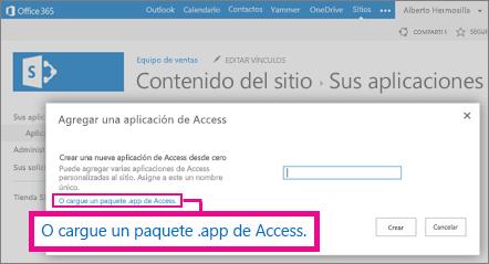Cargar un paquete de aplicaciones de Access a la página Agregar una aplicación en un sitio de SharePoint