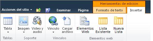 Ficha Herramientas de edición y ficha Insertar