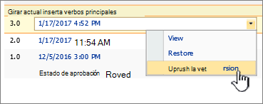 Lista desplegable de archivos publicados con la opción Anular publicación de esta versión resaltada