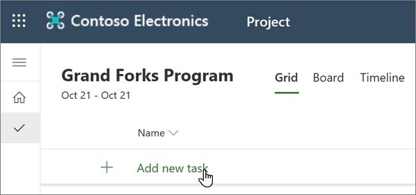 La selección de agregar nueva tarea en Project