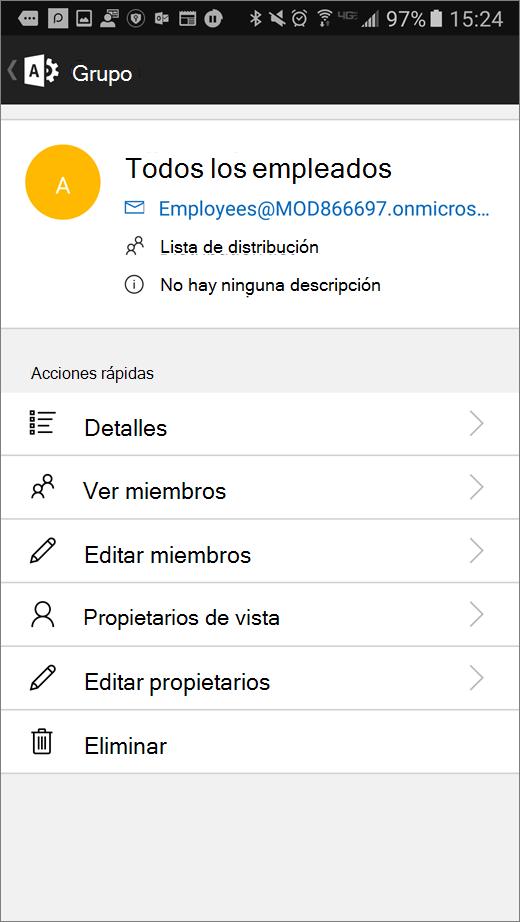 Seleccione su grupo en la aplicación de administrador de Office 365 para editar detalles como la pertenencia o los propietarios.