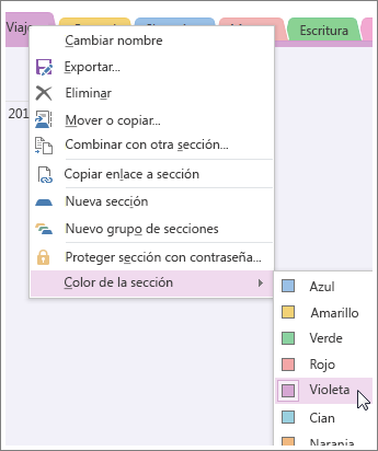 Al cambiar el color de la sección se cambia el color de la pestaña de la sección y de las pestañas de la página.