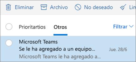 Archivar mensajes en Outlook en la Web