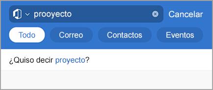 Muestra resultados de búsqueda de Outlook con errores ortográficos