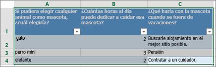 Para imprimir las preguntas de la encuesta y las respuestas, seleccione las celdas que contienen las respuestas.