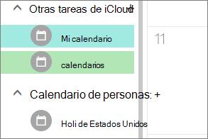 calendario de iCloud que aparece en otros calendarios en Outlook para la web