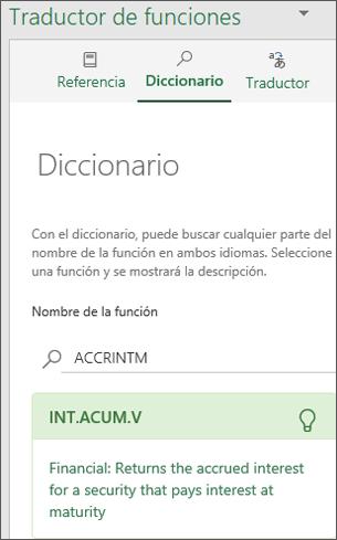 Panel Diccionario del Traductor de funciones