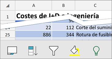 Hoja de cálculo con los comandos contextuales disponibles en la parte inferior de la pantalla