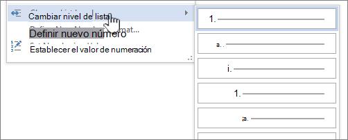 Cambie el nivel de lista de una lista numerada o con viñetas