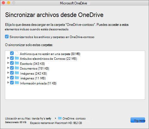 Captura de pantalla del menú de configuración de OneDrive para seleccionar qué carpetas o archivos sincronizar.