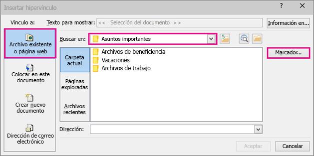 Muestra un cuadro de diálogo con la opción Insertar un vínculo a un archivo diferente seleccionada
