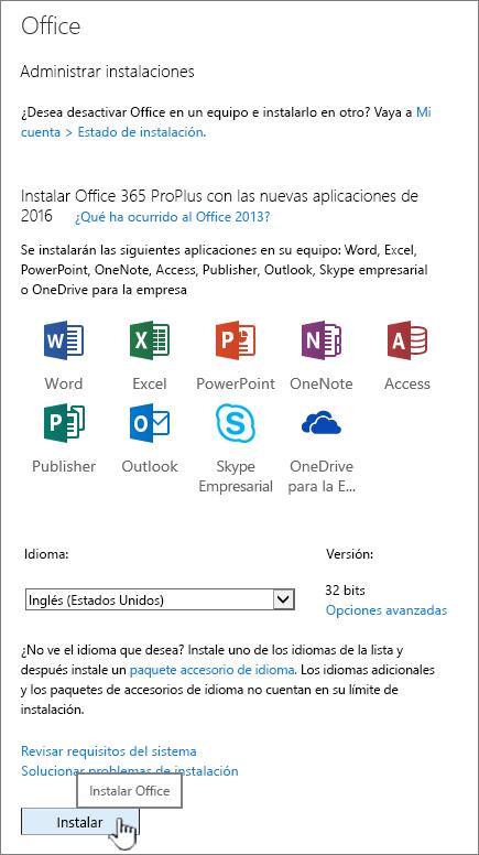 La página mi software de Office 365 para descargar Office 2016