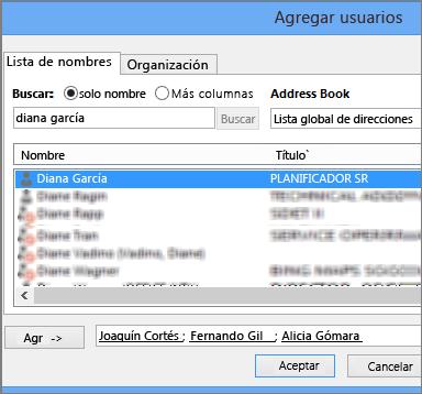 Agregación de usuarios a un nivel de permiso