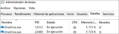 Captura de pantalla del administrador de tareas que muestra OneDrive. exe