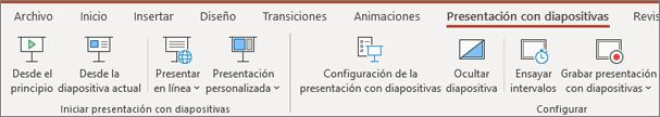 Presentación con diapositivas en Office 365 PowerPoint