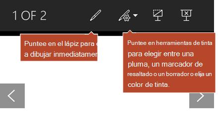 Herramientas de lápiz disponibles en la vista presentación con diapositivas