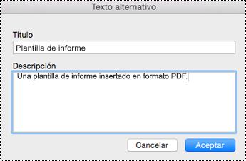 Agregar texto alternativo a los archivos insertados en OneNote para Mac