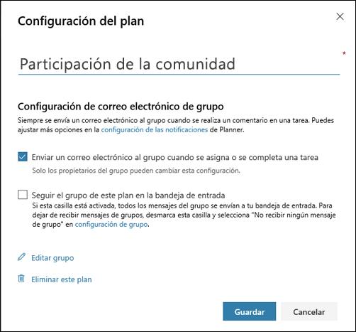 """Captura de pantalla: Muestra la configuración """"Enviar correo electrónico al grupo del plan..."""" para la configuración del plan"""