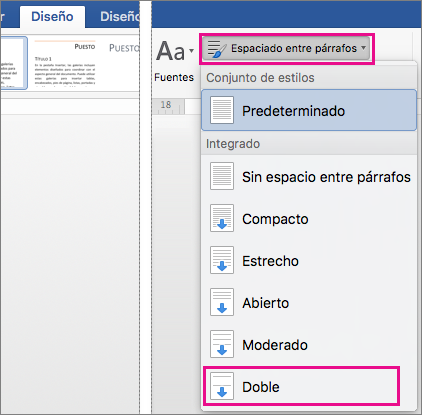 La opción Doble aparece resaltada en la pestaña Diseño, en Espacio entre párrafos.